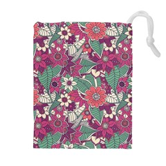 Seamless Floral Pattern Background Drawstring Pouches (Extra Large)