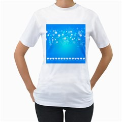 Blue Dot Star Women s T-Shirt (White) (Two Sided)
