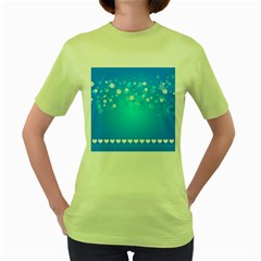 Blue Dot Star Women s Green T Shirt