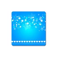 Blue Dot Star Square Magnet