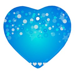 Blue Dot Star Heart Ornament (two Sides)