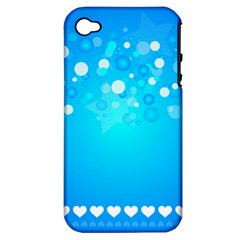 Blue Dot Star Apple Iphone 4/4s Hardshell Case (pc+silicone)