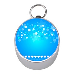 Blue Dot Star Mini Silver Compasses