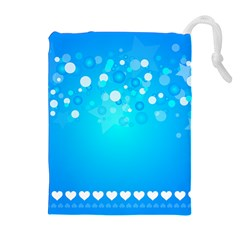 Blue Dot Star Drawstring Pouches (Extra Large)