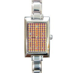 Yellow Blue Red Lines Color Pattern Rectangle Italian Charm Watch