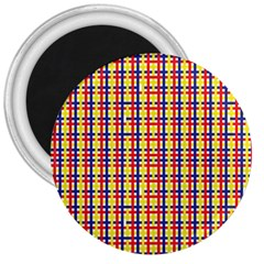 Yellow Blue Red Lines Color Pattern 3  Magnets