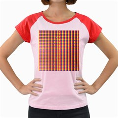 Yellow Blue Red Lines Color Pattern Women s Cap Sleeve T-Shirt