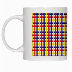 Yellow Blue Red Lines Color Pattern White Mugs
