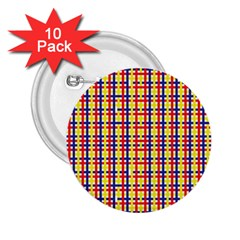 Yellow Blue Red Lines Color Pattern 2 25  Buttons (10 Pack)