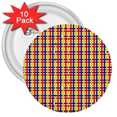 Yellow Blue Red Lines Color Pattern 3  Buttons (10 pack)