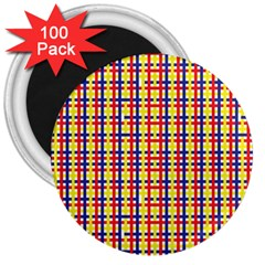 Yellow Blue Red Lines Color Pattern 3  Magnets (100 Pack)