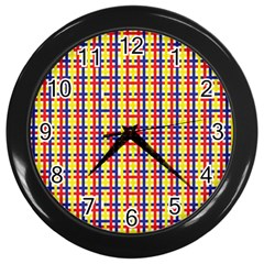 Yellow Blue Red Lines Color Pattern Wall Clocks (black)