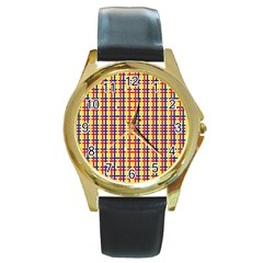Yellow Blue Red Lines Color Pattern Round Gold Metal Watch