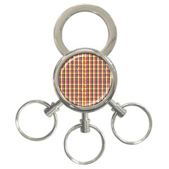 Yellow Blue Red Lines Color Pattern 3 Ring Key Chains