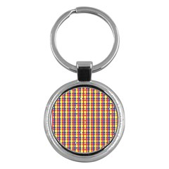 Yellow Blue Red Lines Color Pattern Key Chains (Round)