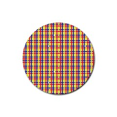 Yellow Blue Red Lines Color Pattern Rubber Round Coaster (4 pack)