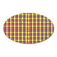 Yellow Blue Red Lines Color Pattern Oval Magnet