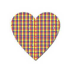 Yellow Blue Red Lines Color Pattern Heart Magnet