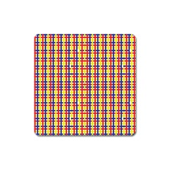 Yellow Blue Red Lines Color Pattern Square Magnet