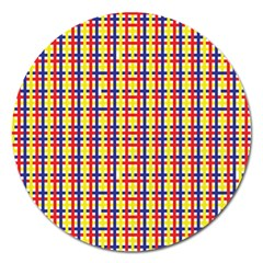 Yellow Blue Red Lines Color Pattern Magnet 5  (Round)