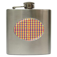 Yellow Blue Red Lines Color Pattern Hip Flask (6 oz)