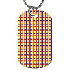 Yellow Blue Red Lines Color Pattern Dog Tag (two Sides)