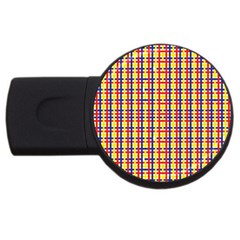 Yellow Blue Red Lines Color Pattern USB Flash Drive Round (1 GB)