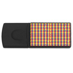Yellow Blue Red Lines Color Pattern USB Flash Drive Rectangular (2 GB)