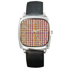 Yellow Blue Red Lines Color Pattern Square Metal Watch