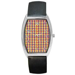 Yellow Blue Red Lines Color Pattern Barrel Style Metal Watch