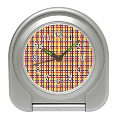Yellow Blue Red Lines Color Pattern Travel Alarm Clocks