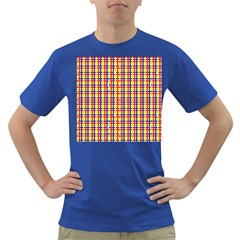 Yellow Blue Red Lines Color Pattern Dark T Shirt
