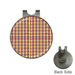 Yellow Blue Red Lines Color Pattern Hat Clips with Golf Markers