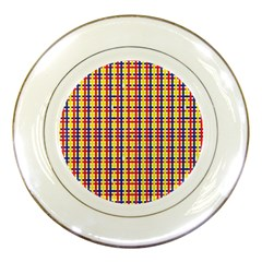 Yellow Blue Red Lines Color Pattern Porcelain Plates