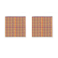 Yellow Blue Red Lines Color Pattern Cufflinks (square)