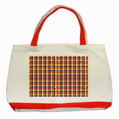 Yellow Blue Red Lines Color Pattern Classic Tote Bag (Red)