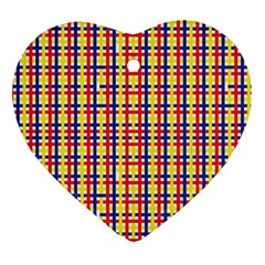 Yellow Blue Red Lines Color Pattern Heart Ornament (Two Sides)