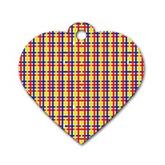 Yellow Blue Red Lines Color Pattern Dog Tag Heart (One Side)