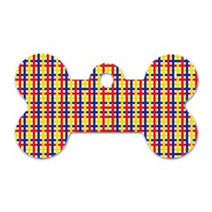 Yellow Blue Red Lines Color Pattern Dog Tag Bone (One Side)