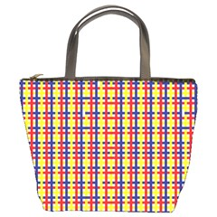 Yellow Blue Red Lines Color Pattern Bucket Bags