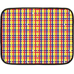 Yellow Blue Red Lines Color Pattern Fleece Blanket (mini)