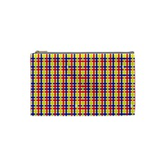 Yellow Blue Red Lines Color Pattern Cosmetic Bag (Small)