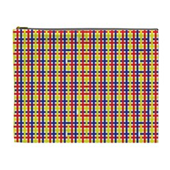 Yellow Blue Red Lines Color Pattern Cosmetic Bag (xl)