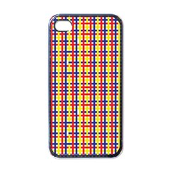 Yellow Blue Red Lines Color Pattern Apple iPhone 4 Case (Black)
