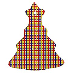 Yellow Blue Red Lines Color Pattern Ornament (christmas Tree)