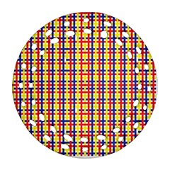 Yellow Blue Red Lines Color Pattern Round Filigree Ornament (Two Sides)