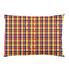 Yellow Blue Red Lines Color Pattern Pillow Case (Two Sides)
