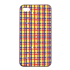Yellow Blue Red Lines Color Pattern Apple iPhone 4/4s Seamless Case (Black)