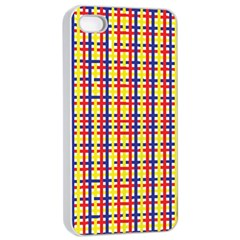 Yellow Blue Red Lines Color Pattern Apple iPhone 4/4s Seamless Case (White)