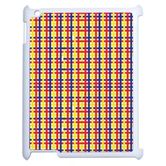 Yellow Blue Red Lines Color Pattern Apple iPad 2 Case (White)
